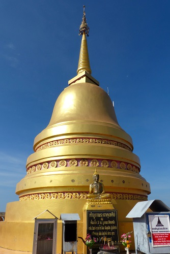 Golden chedi on the summit at Krabi Tiger Cave Temple, Thailand