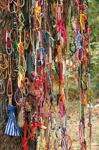 Chains of bracelets hanging from the killing tree at Choeung Ek, Phnom Penh, Cambodia