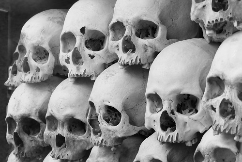 Rows of skulls at Choeung Ek Killing Fields, Phnom Penh, Cambodia