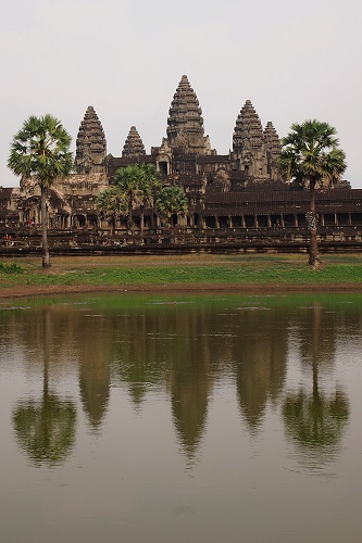 Angkor Wat temple reflected in pond, near Siem Reap, Cambodia