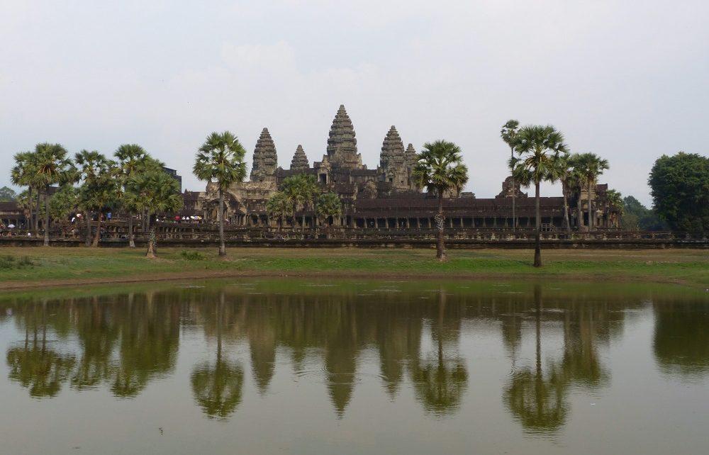 Central temple at Angkor Wat reflected in lake near Siem Reap, Cambodia