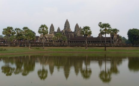 Central temple at Angkor Wat reflected in lake near Siem Reap, Cambodia