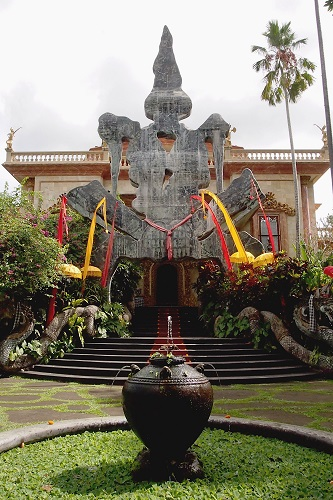 Decorative gateway and steps to Antonio Blanco Museum, Ubud, Bali