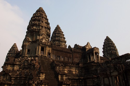Steep steps up to towers of the Bakan at Angkor Wat temple near Siem Reap, Cambodia