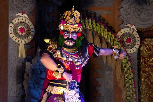 Balinese dancer in elaborate costume in Ubud, Bali