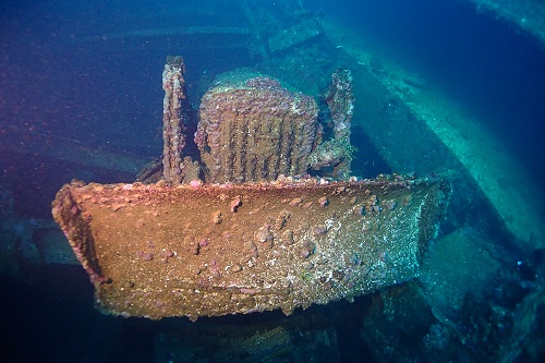 Front of bulldozer in hold on the Hoki Maru wreck in Chuuk Lagoon, Micronesia