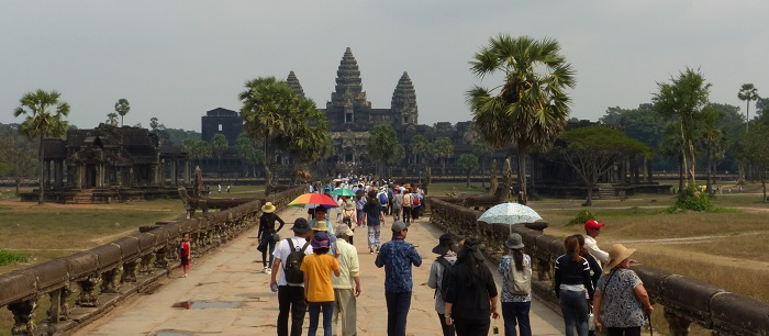 Stone causeway leading to central temple at Angkor Wat near Siem Reap, Cambodia