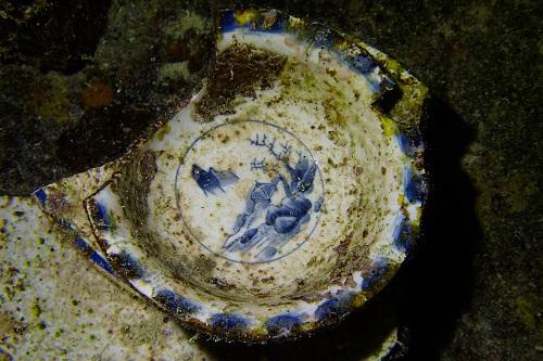 Decorative bowl on the Shinkoku Maru wreck in Chuuk Lagoon, Micronesia