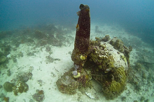 Engine with propellor buried in sand on the Betty Bomber, Chuuk Lagoon, Micronesia