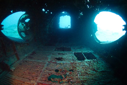 View down the inside of the Betty Bomber in Chuuk Lagoon, Micronesia