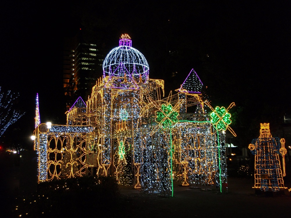 Fairytale castle made of lights at Hiroshima Dreamination, Japan