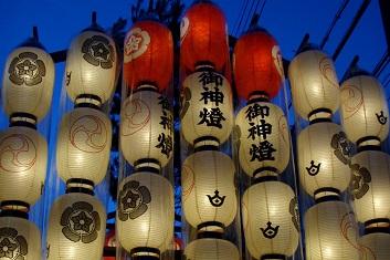 Lanterns hanging from a float at Gion Matsuri, Kyoto, Japan
