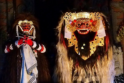 Witch Rangda and Barong at Ubud Palace in Bali