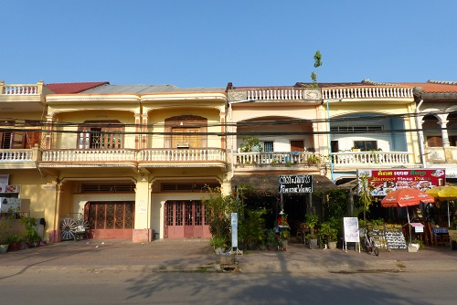Row of shophouses in Kampot, Cambodia