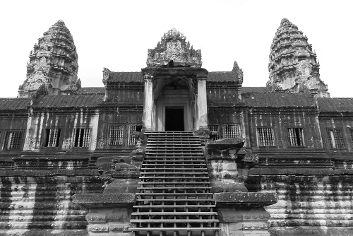 Steps up to doorway at Angkor Wat temple near Siem Reap, Cambodia