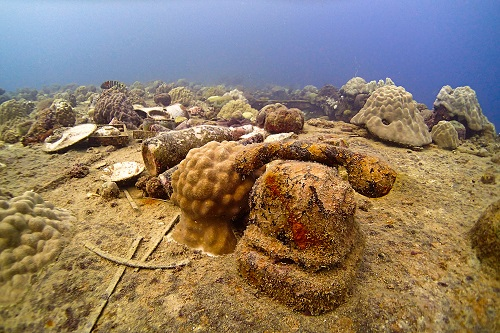 Telephone on the hull of Heian Maru wreck in Chuuk Lagoon, Micronesia