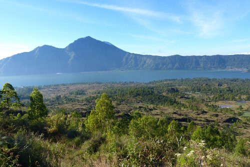 View from Mount Batur to Lake Batur and Mount Agung beyond in Bali, Indonesia