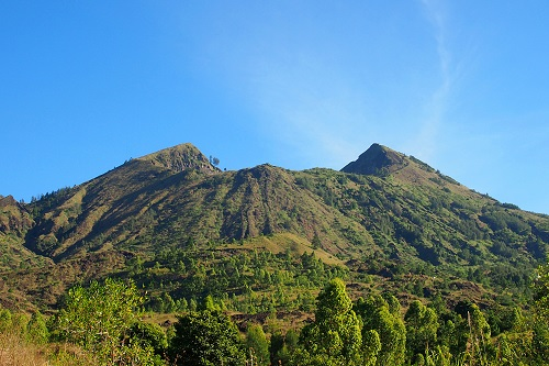 Verdant peak and crater of Mount Batur in Bali, Indonesia