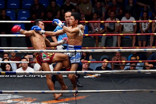 Muay Thai Fighter Throws His Opponent, Bangkok, Thailand