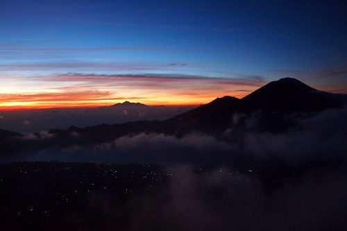 Sunrise and clouds seen from Mount Batur in Bali, Indonesia