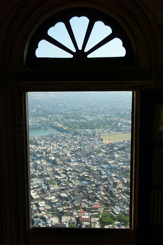 View of Jaipur city from a window at Nahargarh Fort in India
