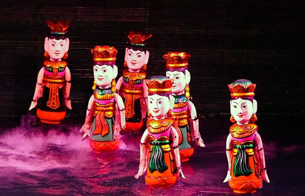 Six dancing fairies at Thang Long Water Puppet Theatre in Hanoi, Vietnam