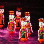 Six dancing fairies at Thang Long Water Puppet Theatre in Hanoi, Vietnam