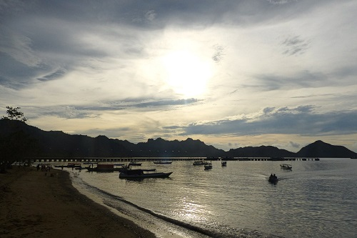 Pier and boats at Komodo Island in Indonesia