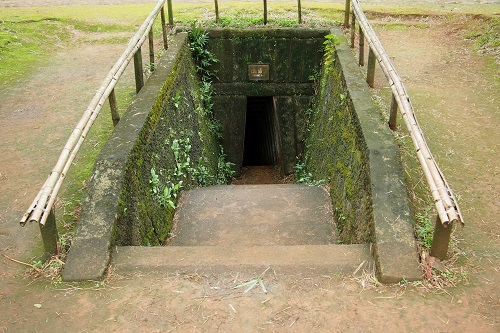 Steps down to a tunnel entrance at Vinh Moc Tunnels in Vietnam