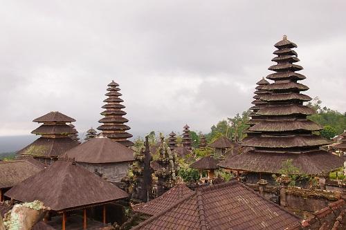 Rooftops at Pura Besakih temple in Bali, Indonesia