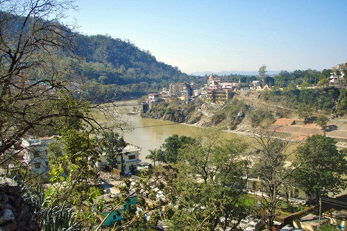 Murky Ganges river in Rishikesh, India