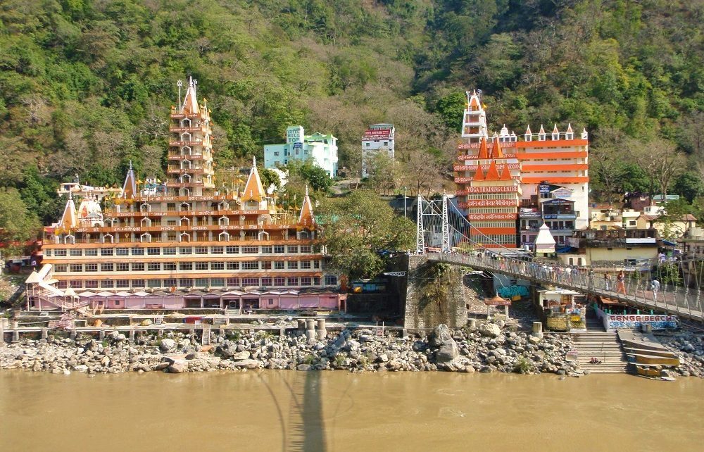 13-storey temple and Lakshman Jhula bridge in Rishikesh, India