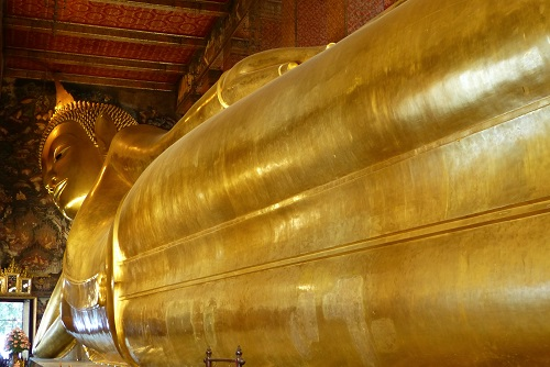 Golden reclining Buddha at Wat Pho in Bangkok, Thailand