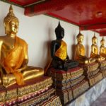 Row of Buddhas at Wat Pho temple in Bangkok, Thailand