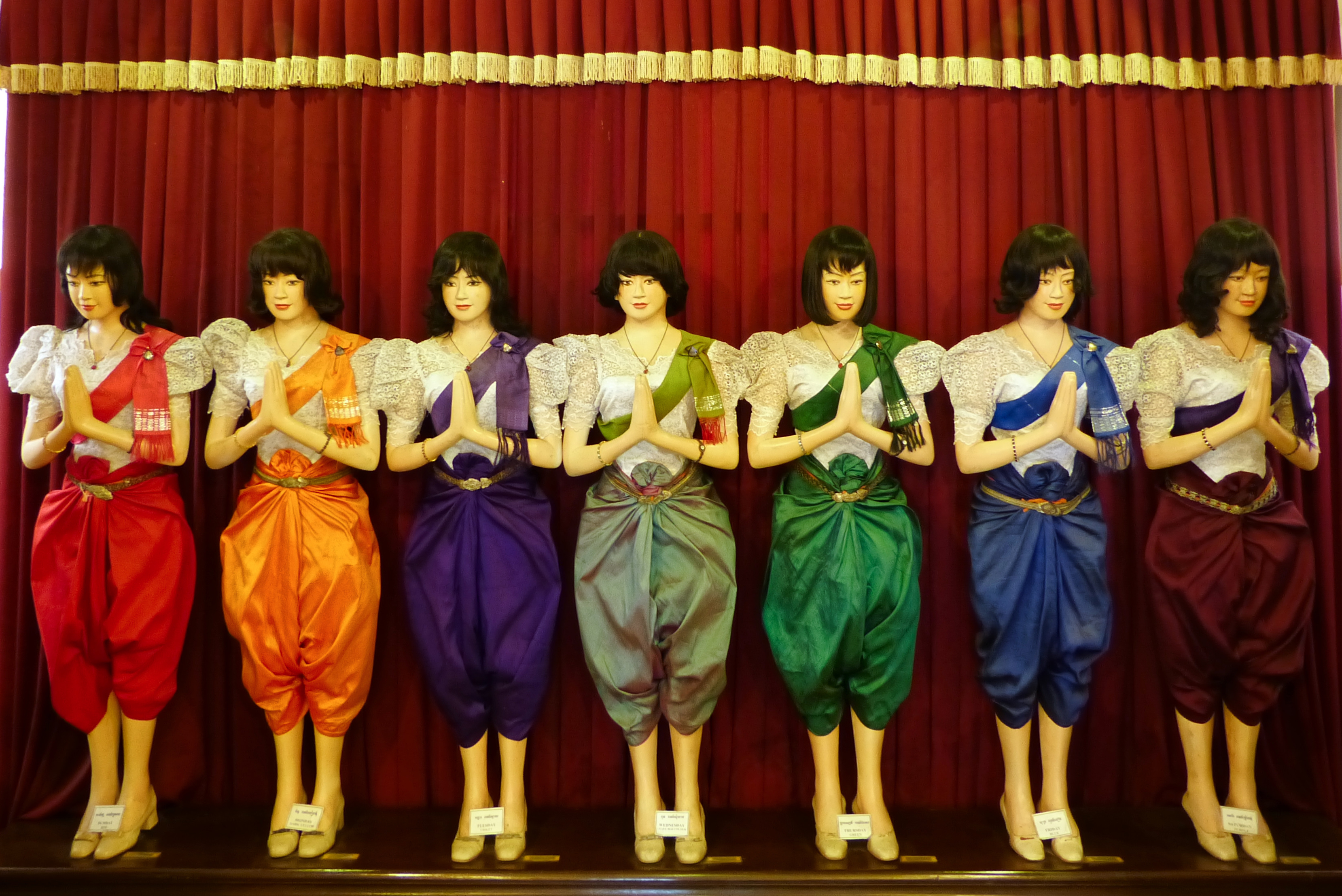 Models wearing auspicious Colours at the Royal Palace, Phnom Penh, Cambodia