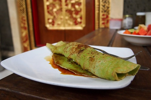 Green banana pancake at breakfast in Bali, Indonesia