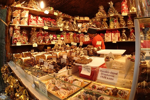 Chocolate stall at Manchester Christmas Market in England