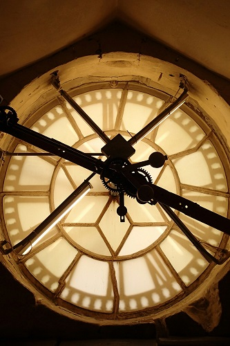 Mechanism at back of Bath Abbey clock in England