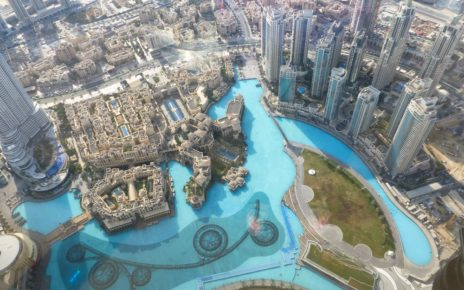 View of Dubai Fountain and Downtown Dubai from Burj Khalifa in UAE
