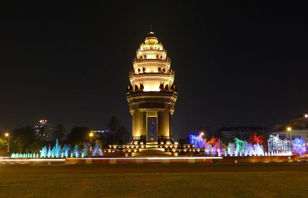 Independence Monument at night, Phnom Penh, Cambodia