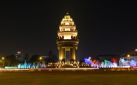 Independence Monument at night, Phnom Penh, Cambodia