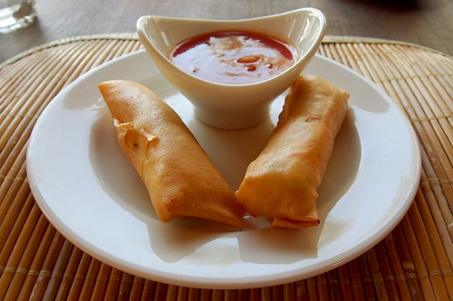 Lumpia and sauce in Bali, Indonesia