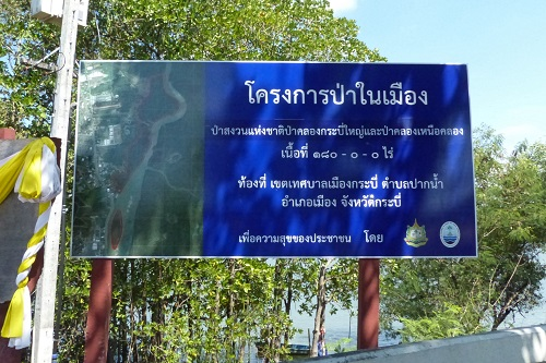 Blue sign marking entrance to mangrove walk in Krabi town, Thailand