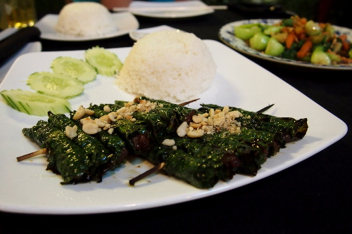 Betel and Beef Skewers at Mok Mony, Phnom Penh Cambodia