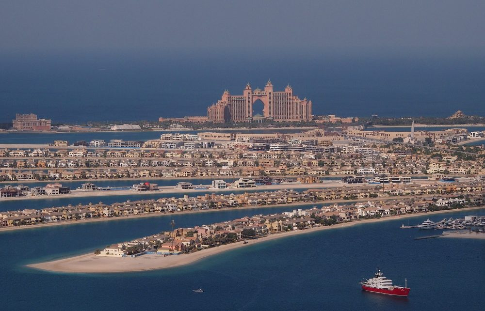 Houses and hotels on the Palm Jumeirah in Dubai, UAE