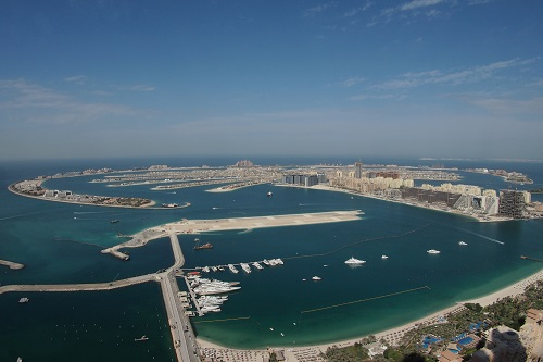 View across the Palm Jumeirah in Dubai, UAE