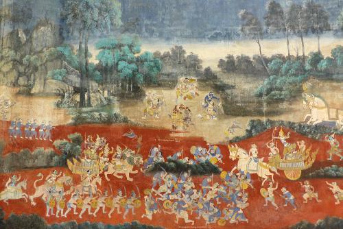 Monkeys and demons fighting. Phnom Penh, Cambodia