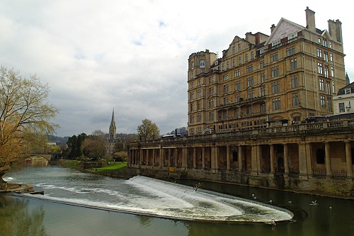Weir on the River Avon in Bath, England