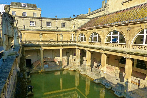 Looking down into hot spring at Roman Baths in Bath, England