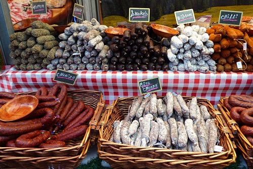 Baskets of salami at Manchester Christmas Market in England